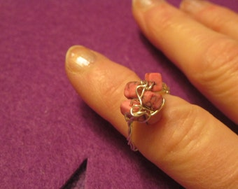 MARBLE PINK CUBES  Wire Wrapped Ring