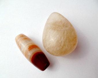 Quartz Cabochon, Natural Stone Pendant, Beads, Jewelry Making, Destash, Supply, Lot of 2