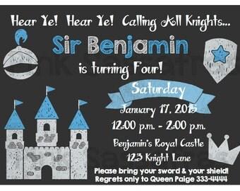 Boy's Knight Chalkboard Birthday Invitation