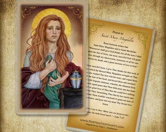 St. Mary Magdalen (B) Holy Card or Wood Magnet #0181