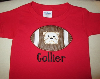 Personalized Toddler Boys Applique Football T Shirt with Bulldog, University of Georgia Bulldogs, Custom Go Dawgs Tee