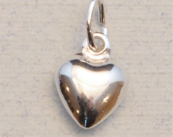 Add a Sterling Silver Puffy Heart to any Necklace or Bracelet, 925 Sterling Silver Charm, Personalized Jewelry