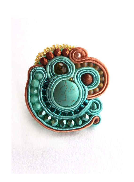 RING, Statement soutache turquoise and ore Ring, HANDICRAFT