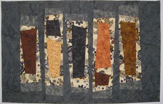 Art Quilt Five Wonky Columns, contemporary wall quilt, modern quilt, fiber arts