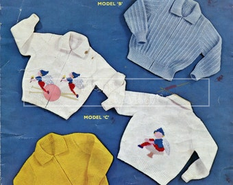 Boy's and Girl's Lumber Jackets 3-4 years DK Sirdar Sunshine Series 213 Vintage Knitting Pattern PDF instant download