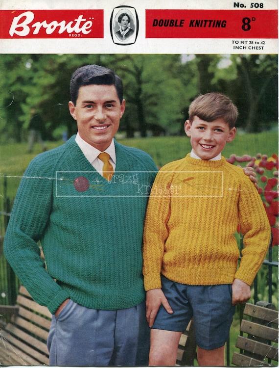 Men and Boy's Sweater Crew & V Neck DK 28-42in Bronte 508 Vintage Knitting Pattern PDF instant download