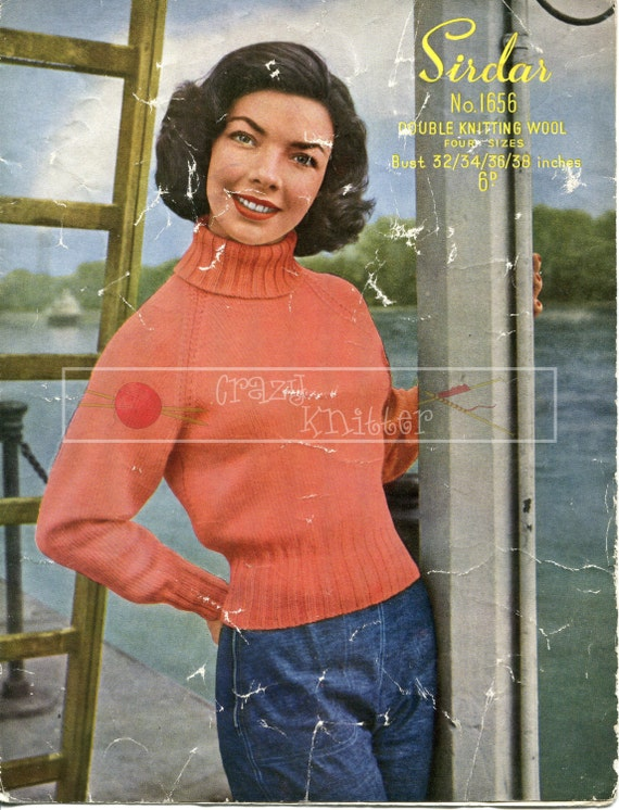 "Lady's Turtle Neck Sweater DK 32-38"" Sirdar 1656 Vintage Knitting Pattern PDF instant download"