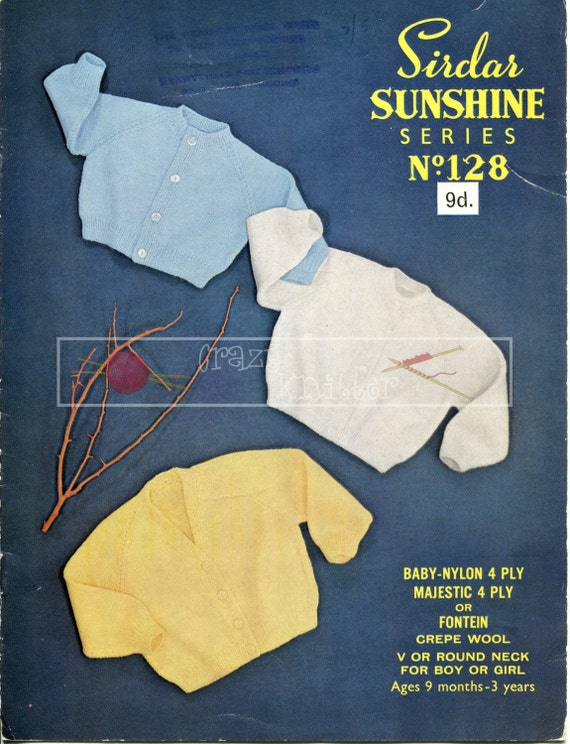 Baby Raglan Cardigan 9-36 months 4-ply Sirdar Sunshine Series 128 Vintage Knitting Pattern PDF instant download