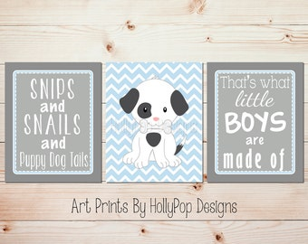 Snips and Snails Baby boy nursery art Nursery print set Dog nursery theme Blue nursery art Nursery rhyme print Puppy nursery prints #1260