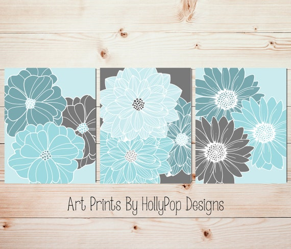 Aqua Teal Gray Home Decor Bedroom Wall Art Bathroom Wall Art
