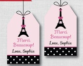 Paris Birthday Party Favor Tags - Paris Themed Birthday Party - Digital Design or Handcrafted Tags - FREE SHIPPING