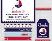 Boy Nautical Birthday Party Printable Kit - Classic Sailboat Themed Birthday Party Decor - DIGITAL DESIGN