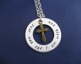 Hand Stamped Scripture Necklace Bible Verse Isaiah 41:10 Fear Not For I Am With You
