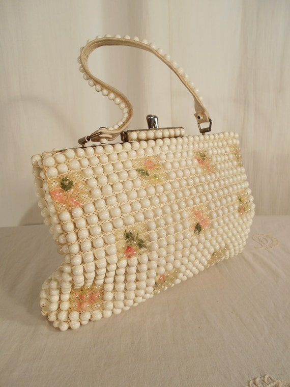 1950s Handbags, Purses, and Evening Bag Styles ON SALE Vintage 1950s Handbag - 50s Corde White Beaded Tapestry Floral Handbag $16.80 AT vintagedancer.com