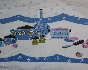 Vintage 50's tablecloth 48 x 60 textile table linen blue wine and cheese design mid century kichen