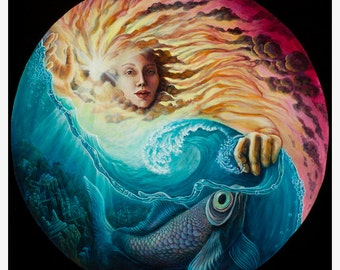 "She of the Jade Skirt - Visionary Art Pearl Paper Print by Morgan Mandala - 10.25"" x 10.25"""
