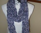 Wide & Soft Lacy Scarf in Navy Blue / Pink with Fringe - Open Weave with a Hint of Sparkle
