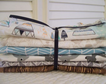 Rag Quilt Style Burp Cloths, Woodland Gray Brown Aqua Herringbone Teepee Baby ONE Set of Two Minky Deer Baby Crib Bedding Gift Basket