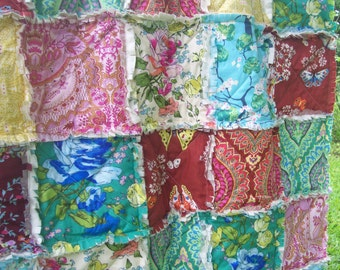 Crib Rag Quilt, Pink Blue Green Baby Quilt Yellow Baby Girl Shabby Chic Bohemian Crib Bedding Boho Butterflies Floral Amy Butler