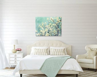 Spring photography aqua decor dogwood art large wall art canvas gallery wrap dogwoods cottage decor spring prints white floral dreamy art