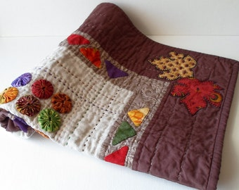 SALE - Handmade Cotton, Linen And Suede Quilted Wall Hanging
