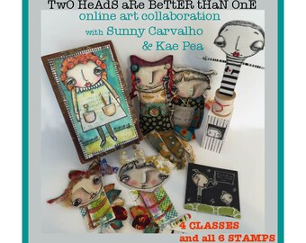 2 Heads R Better Than 1-Online Art Classes w/ Sunny Carvalho & Kae Pea WITH Stamp Set included