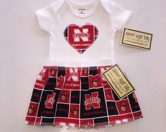 Nebraska Huskers Heart Onesie and Skirt