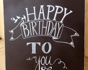 Happy Birthday To you chalkboard sign.