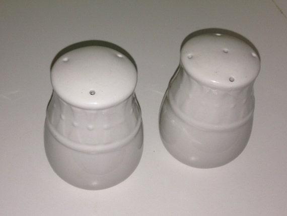 Large Salt And Pepper Shakers White Ceramic Porcelain Embossed
