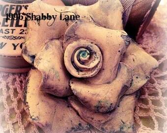 Oversized Vintage Inspired Handmade Shabby Polymer Clay Tea Rose
