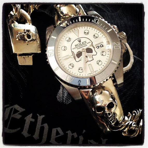 Etherial Sterling Silver Handcrafted Skull Watch Band available for ANY wristwatch. But Please note that you will have to send us your watch
