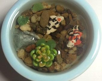 Resin Koi Fish Pond With Blue Quartz, Blue Ceramic Bowl, Lily Pads