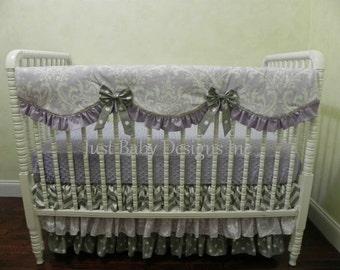 Custom Bumperless Baby Crib Bedding Set Melanie - Lavender and Gray Baby Girl Bedding, Scalloped Rail Guard, 3 Tiered Crib Skirt