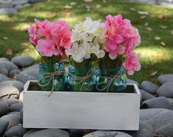 Blue Vintage Style Mason Jars with Planter Box- Rustic Home Decor- Mason Jars- Table Centerpiece- Rustic Wedding Decor