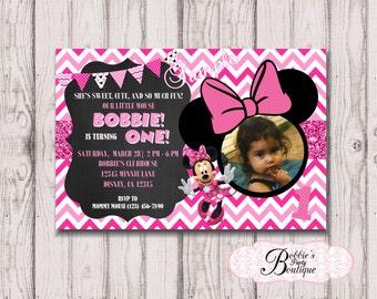 Minnie Mouse Birthday Invitation,Minnie Mouse Invitation, Printable, DIY, Chalkboard Invitation, Birthday Invitation, Chevron Invitation,