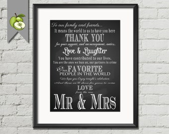 Thank you wedding sign, Chalkboard, Thank you, Mr and Mrs,  wedding Table Sign,  4 SIZEs, Instant digital Download, DIY bride, chalksuite