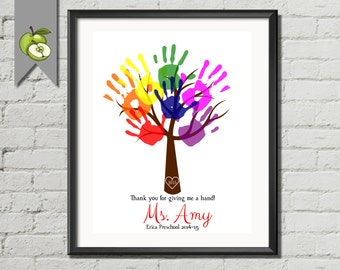 Teacher appreciation Week, Customized, hand print tree, any tree, any font, any quote, any colour, personalised, digital, DIY printable