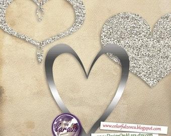 Silver Foil and Glitter Hearts clipart, Silver Glitter Valentines Hearts, Sivler Hearts Frame ClipArt, Silver Digital ClipArt, for invites