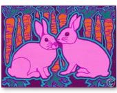 "PAIR of RABBITS - ""The Wonders of Nature"" Collection - Easter - Valentine's Day - Love - Wedding - 5""x7"" Collage Art Card (CVAL2013051)"