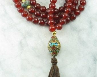 Ayurvedic Vitality Mala - Carnelian, Gold and Turquoise - Buddhist Prayer Beads, 108 Mala Beads - Vitality and Welness