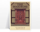 Retro Travel Poster - Narnia - The Wardrobe - MANY SIZES - Modern Vintage Lion Witch Lucy Fantasy Castle Geek Film Typography Print