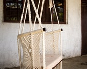 Handmade Macramé Big Chair - Comfy Design ® | Cream | environmentally friendly native wood | handmade pillow on request