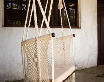 Handmade Macramé Big Chair - Comfy Design ® | Cream | environmentally friendly native wood | handmade pillow on request