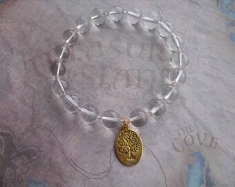 Golden tree of life quartz bracelet