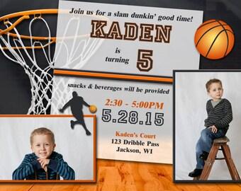 Basketball Birthday Invitations - Printed w/ Envelopes OR Printable Digital File