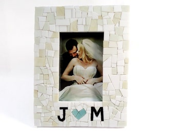 Personalized Wedding Gift for Couples Mosaic Picture Frame with Initials & Heart