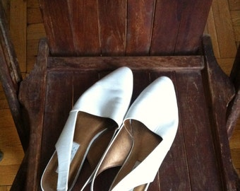 White Sling-back Flats Size 7 *SALE* 20% off with code SUMMERLOVE