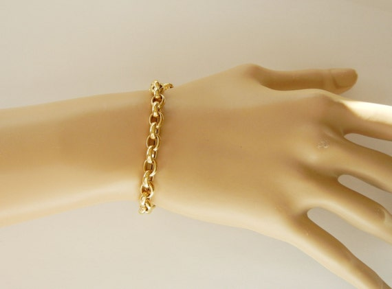 14k Solid Yellow Gold Made In Italy Rolo Link Bracelet 8 Inch
