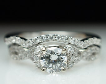 Diamond Half Halo Infinity Engagement Ring & Wedding Band Complete Bridal Set 14k White Gold