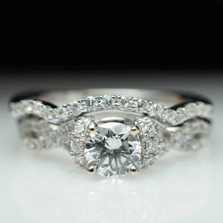 Diamond Half Halo Infinity Engagement Ring & Wedding Band